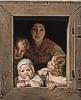 Ferdinand Georg Waldmüller (1793 - 1865) Junge Bäuerin mit drei Kindern im Fenster, 1840