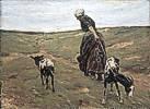 Max Liebermann (1847 - 1935) Frau mit Geißen in den Dünen, 1890