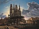 Karl Friedrich Schinkel (1781 - 1841) Dom über einer Stadt, um 1830 (Kopie) bzw. 1813 (verlorenes Original)
