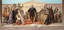 Wilhelm von Kaulbach (1804 - 1874) König Ludwig I., umgeben von Künstlern und Gelehrten, steigt vom Thron, um die ihm dargebotenen Werke der Plastik und Malerei zu betrachten, 1848